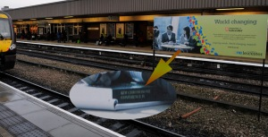 Leicester Railway Station: poster had students working with a book we edited!
