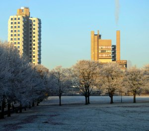Buildings of the University of Leicester, UK, in frost