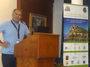 Organizer Leopoldo Iannuzzi and the Animal Cytogenetics Conference Poster