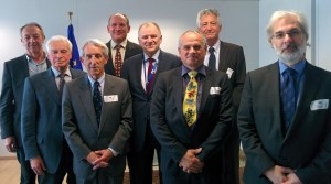 Risk Delegation with EU Commissioner Vytenis Andriukaitis [From the left: Prof. Richard Sharp (back), Prof. Helmut Greim (middle) ,Prof. Sir Colin Berry (front), Prof. Pat Heslop-Harrison (back), Dr. Vytenis Andriukaitis, Commissioner of Health & Food Safety (middle), Prof. Daniel Dietrich (front), Prof. Wolfgang Dekant (back), and Prof. Alan Boobis (front)]