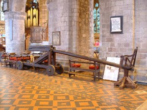 Ducking Stool in the church of my home region, Leominster, Herefordshire, as used to try witches. (CC John Phillips geograph.org.uk)